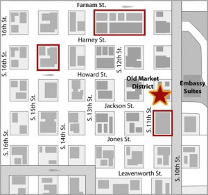 Map with parking for downtown market